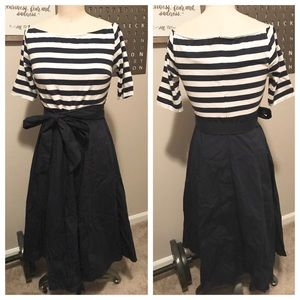 eShakti Navy & White Mixed Media Dress